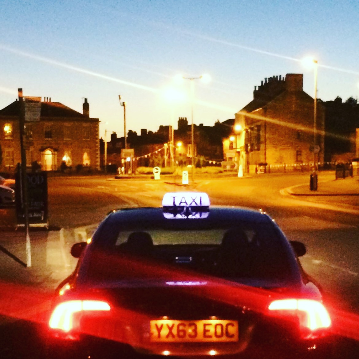 Taxi at night time in Pickering