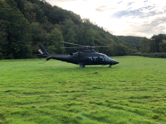Helicopter at Rievaulx near Helmsley