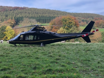 Helicopter at Arden Hall in Hawnby near Helmsley